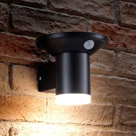 Auraglow Solar Powered Dusk to Dawn and PIR Sensor Wireless Outdoor Garden Security LED Wall Light Cylinder Sconce Design - Black
