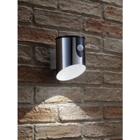 Auraglow Stainless Steel Outdoor Battery Powered Wireless LED PIR Motion Sensor Security Wall Light IP44, Cool White Cylinder Sconce for Porch, Garage, Drive and Garden