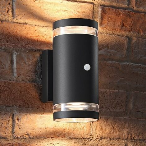 Auraglow PIR Motion Sensor Double Up & Down Outdoor Wall Security Light - Anthracite - Warm White