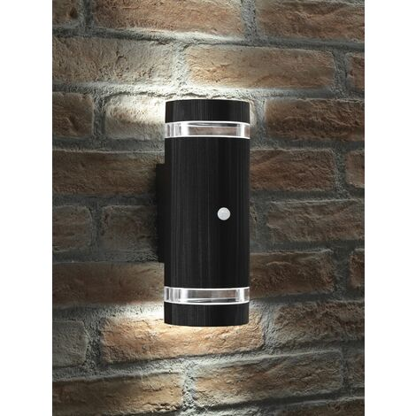 Auraglow PIR Motion Sensor Double Up & Down Outdoor Wall Security Light Black - Cool White
