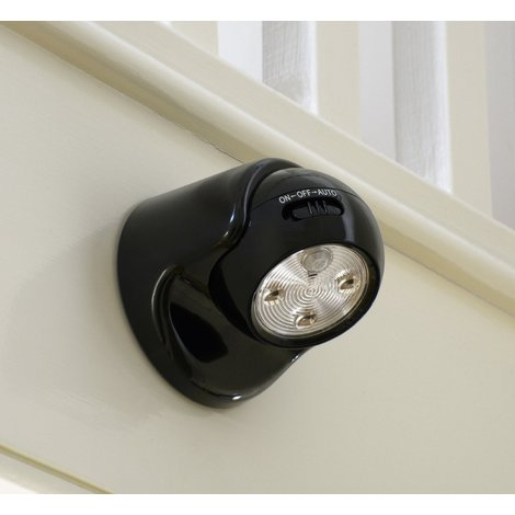 Auraglow Battery Operated Motion Activated PIR Sensor Removable Cordless LED Security Light - Black