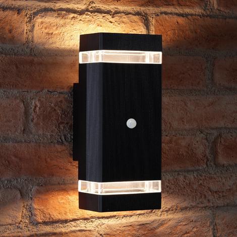 Auraglow PIR Motion Sensor Double Up & Down Outdoor Wall Security Light - Black