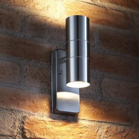 Auraglow Dusk Till Dawn Sensor Stainless Steel Up & Down Outdoor Wall Light - AVEBURY - Warm White