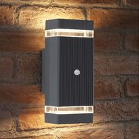Auraglow PIR Motion Sensor Double Up & Down Outdoor Wall Security Light -Silver - Warm White