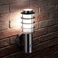 Auraglow Stainless Steel PIR Infrared Motion Sensor Outdoor LED Wall Light (Cool White)
