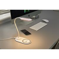 Auraglow LED Flexible Neck Desk Lamp with 3 Colour Modes and 10W Wireless Smart Phone Qi Fast Charger