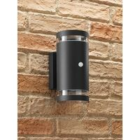 Auraglow PIR Motion Sensor Double Up & Down Outdoor Wall Security Light - Anthracite - Cool White