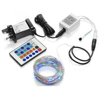 Auraglow 10m Remote Control Plug In Invisible Wire 100 Micro LED String Lights - RGB