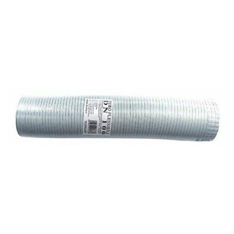 tuyau échappement aluminium BLANC 130mm extensible 1 à 3 mt