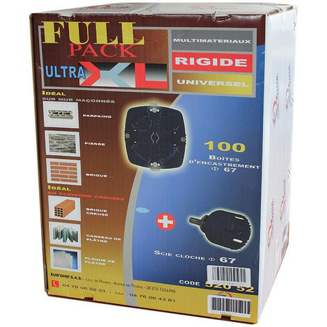 Pack 100 boîtes multi matériaux d67 p40 scie cloche offerte (52052)