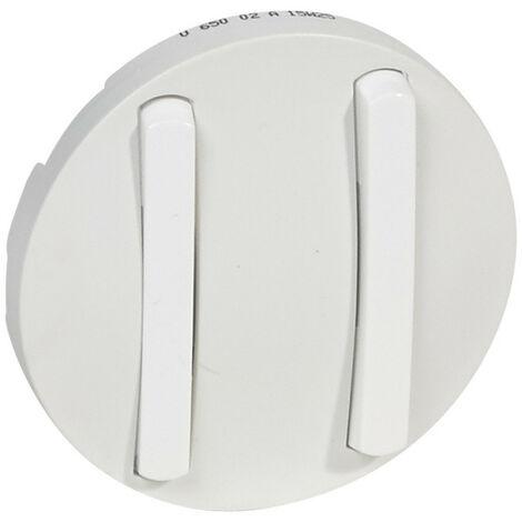 Enjoliveur étroit Céliane pour double interrupteur, va-et-vient ou poussoir Blanc (065002)