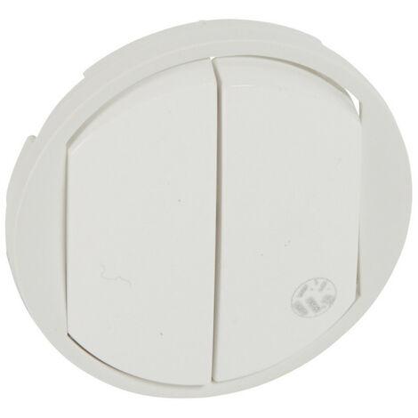 Enjoliveur antimicrobien Céliane pour double interrupteur, va-et-vient ou poussoir Blanc (067741)