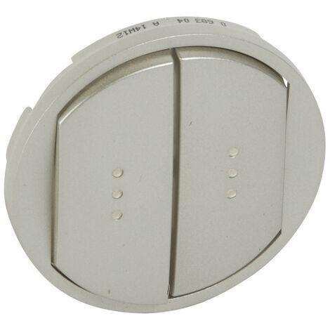 Enjoliveur large Céliane pour double interrupteur, va-et-vient ou poussoir avec voyant finition titane (068304)