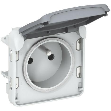 Prise de courant 2P+T avec éclips de protection Plexo composable IP55 16A 250V gris (069551)