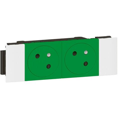 Prise de courant 2P+T mosaic link 4m fb vert clippage dir surface (077192L)