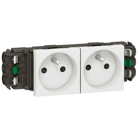 Double prise de courant 2P+T Mosaic 4 modules pour goulottes DLP monobloc blanc (077302)