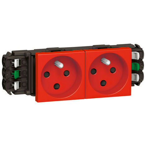 Double prise de courant 2P+T à détrompage Mosaic 4 modules pour goulottes DLP monobloc rouge (077322)