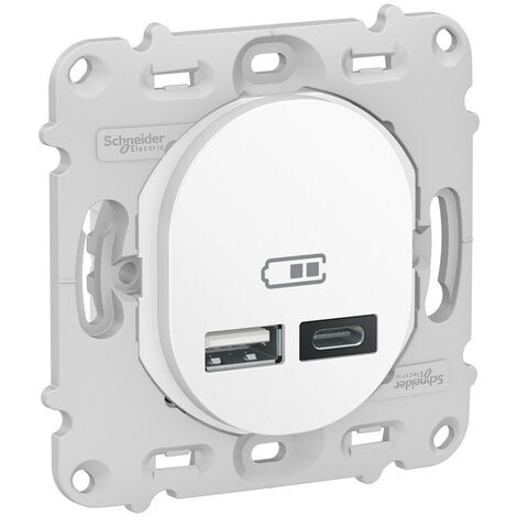 Ovalis - prise USB double - type A+C - Blanc - mécanisme + plaque - 5Vcc - 2,4A (S260401)