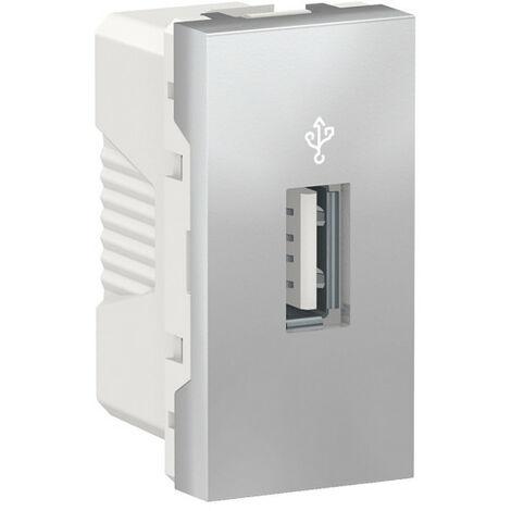 Unica - prise USB 3.0 - connecteur data - 1 mod - Alu - méca seul (NU342930)