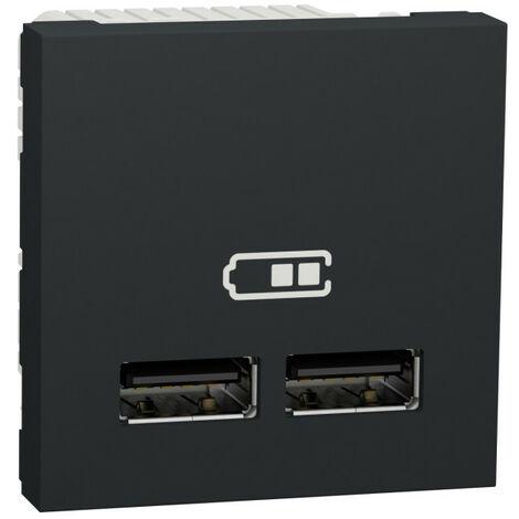 Unica - chargeur USB double - 5Vcc - 1A + 2,1A - 2 modules - Anthra - méca seul (NU341854)