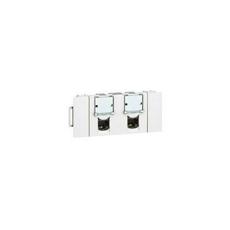 Double prise RJ45 catégorie6 FTP spéciale goulotte à clippage direct Mosaic 3 modules blanc (076546)