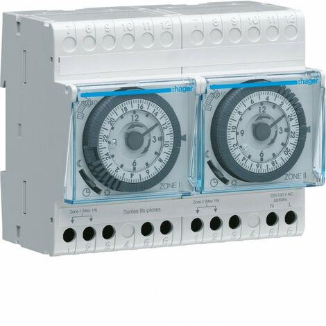Programmateur modulaire analogique chauf élec avec fil pilote 2 zones 24h 230V (30010)