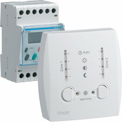 Programmateur modulaire digit chauf élec fil pilote boîtier amb 2 zones 7j 230V (49003)