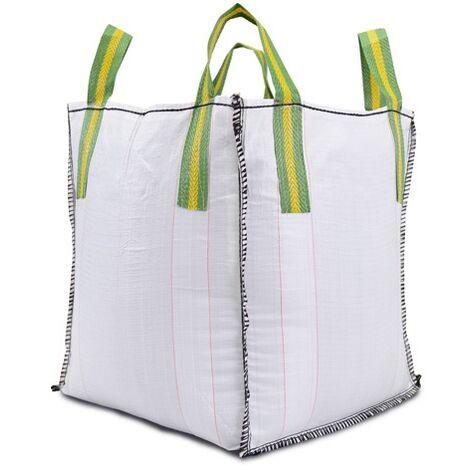 Lot de 10 big bag de chantier construction bâtiment : charge de travail 1000 Kg (Dim 80 x 80 x 90 cm 4 sangles)