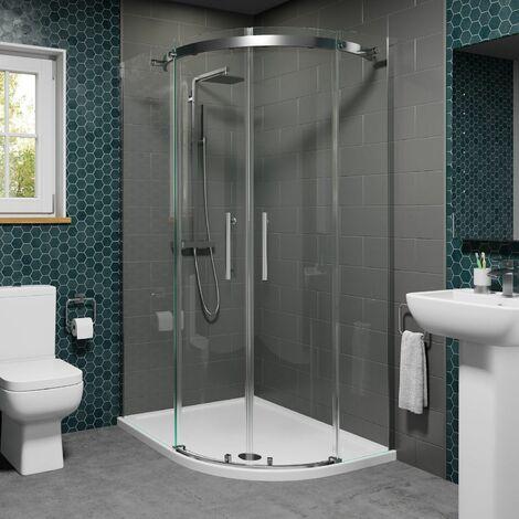 1200 x 800mm Offset RH Quadrant Shower Enclosure Frameless 8mm Glass Tray Waste