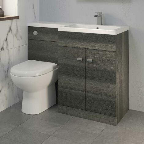 1100mm Bathroom Vanity Unit Basin & Toilet Combined Unit RH Grey