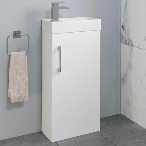 Modern Bathroom Basin Sink Vanity Unit 1 Tap Hole 400mm Gloss White