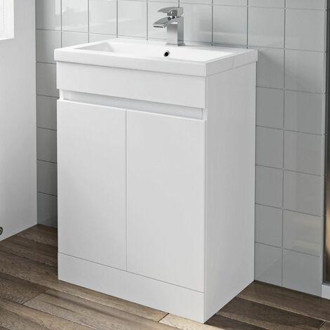 600mm Bathroom Vanity Unit Basin 2 Door Cabinet Unit Modern White