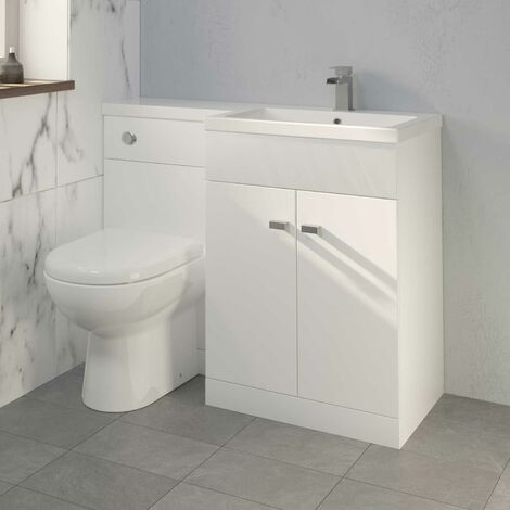 1100mm Bathroom Vanity Unit Basin & Toilet Combined Unit RH White