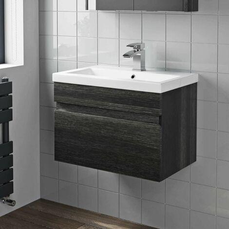 600mm Bathroom Vanity Unit Basin Sink Wall Hung Drawer Cabinet Grey