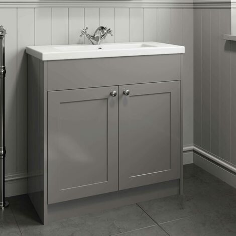 800mm Bathroom Vanity Unit Basin Sink Cabinet Gloss Grey Traditional