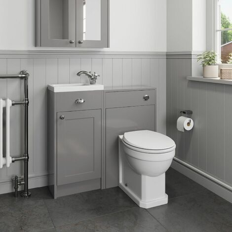 950mm Toilet Bathroom Vanity Unit Combined Basin Sink Grey Traditional