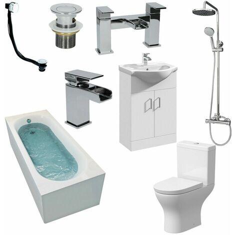 Complete Bathroom Suite 1700 Bath Screen Basin Vanity Unit WC Shower Taps Set