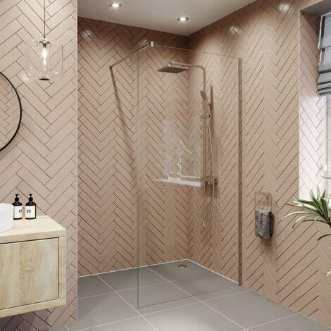 Modern 1400mm Walk In Wet Room Shower Screen Panel Easy Clean 8mm Safety Glass