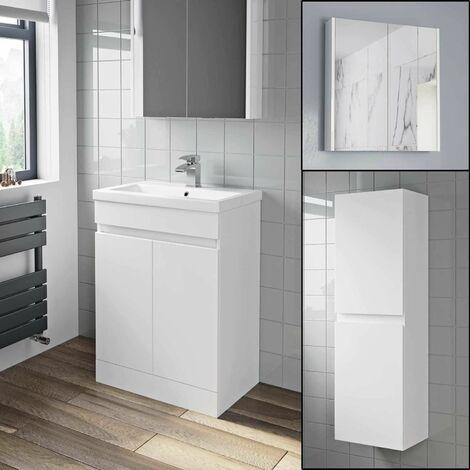 600mm Basin Vanity Unit Mirror Cabinet Tall Cupboard Bathroom Bundle