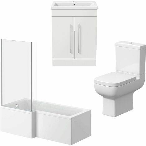 Bathroom Suite Vanity Unit Basin L Shape Bath And Close Coupled Toilet White LH
