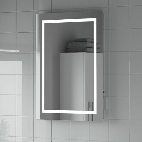 Bathroom LED Illuminated Mirror With Demister And Shaver Socket Mains Power IP44