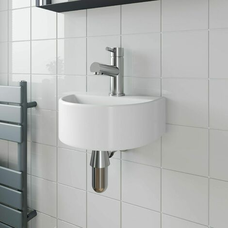 Cloakroom Wall Hung Basin Sink Hand Wash Round 1 Tap Hole White Modern Bathroom