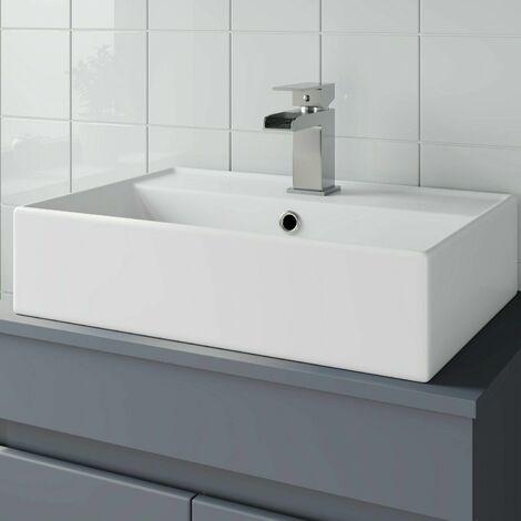 Bathroom Vanity Wash Basin Sink Countertop Rectangular 1 TH Modern 505 x 350mm