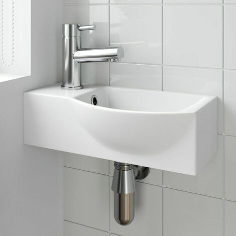 Bathroom Wall Hung Basin Corner Hand Wash Sink 1 Tap Hole White Cloakroom Modern
