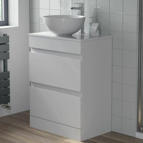 600mm Bathroom Vanity Unit Countertop Round Basin Floor Standing Gloss White