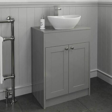 600mm Grey Traditional Vanity Unit Countertop Bathroom Furniture Round Basin