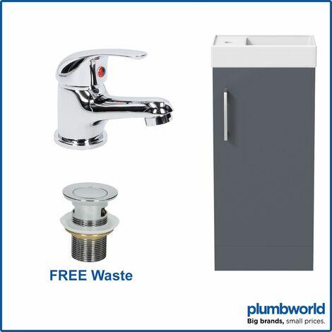 400mm Bathroom Basin Sink Vanity Unit Furniture Grey Curved Mixer Tap FREE Waste