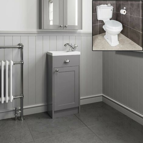 450mm Traditional Bathroom Grey Vanity Unit Sink Basin Close Coupled Toilet WC