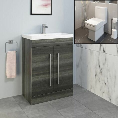 600mm Bathroom Modern Vanity Unit Basin Sink Close Coupled Toilet Charcoal Grey