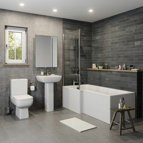 Modern Bathroom Suite 1500mm L Shaped Bath LH Screen Toilet Basin & Pedestal